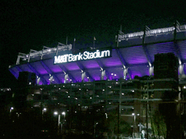M&T Bank Stadium at night