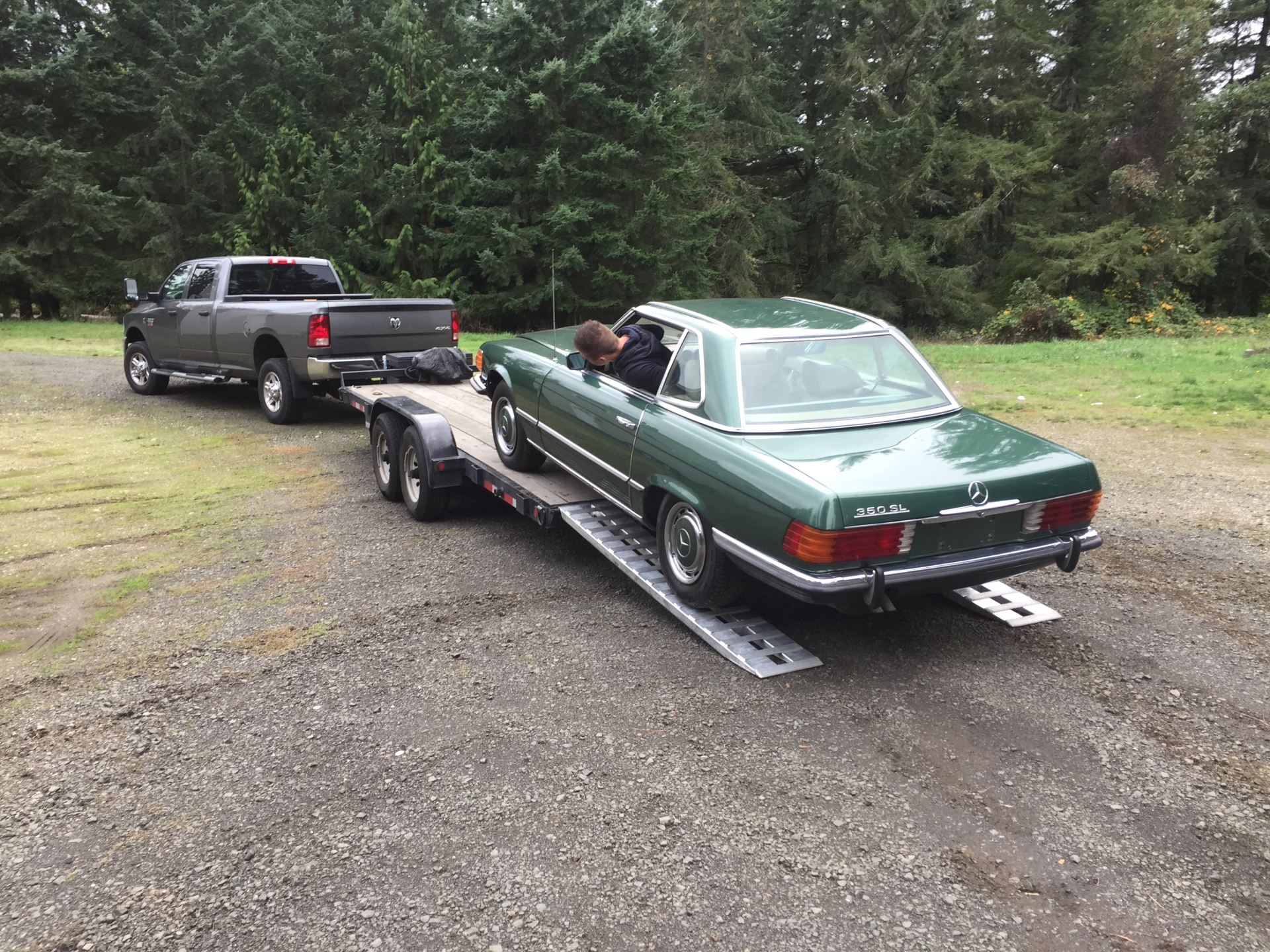 1972 Mercedes 350SL 4.5 from Class Winners starting its long overseas journey to Chris in Germany