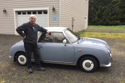 Stephen with his 1991 Nissan Figaro from Class Winners