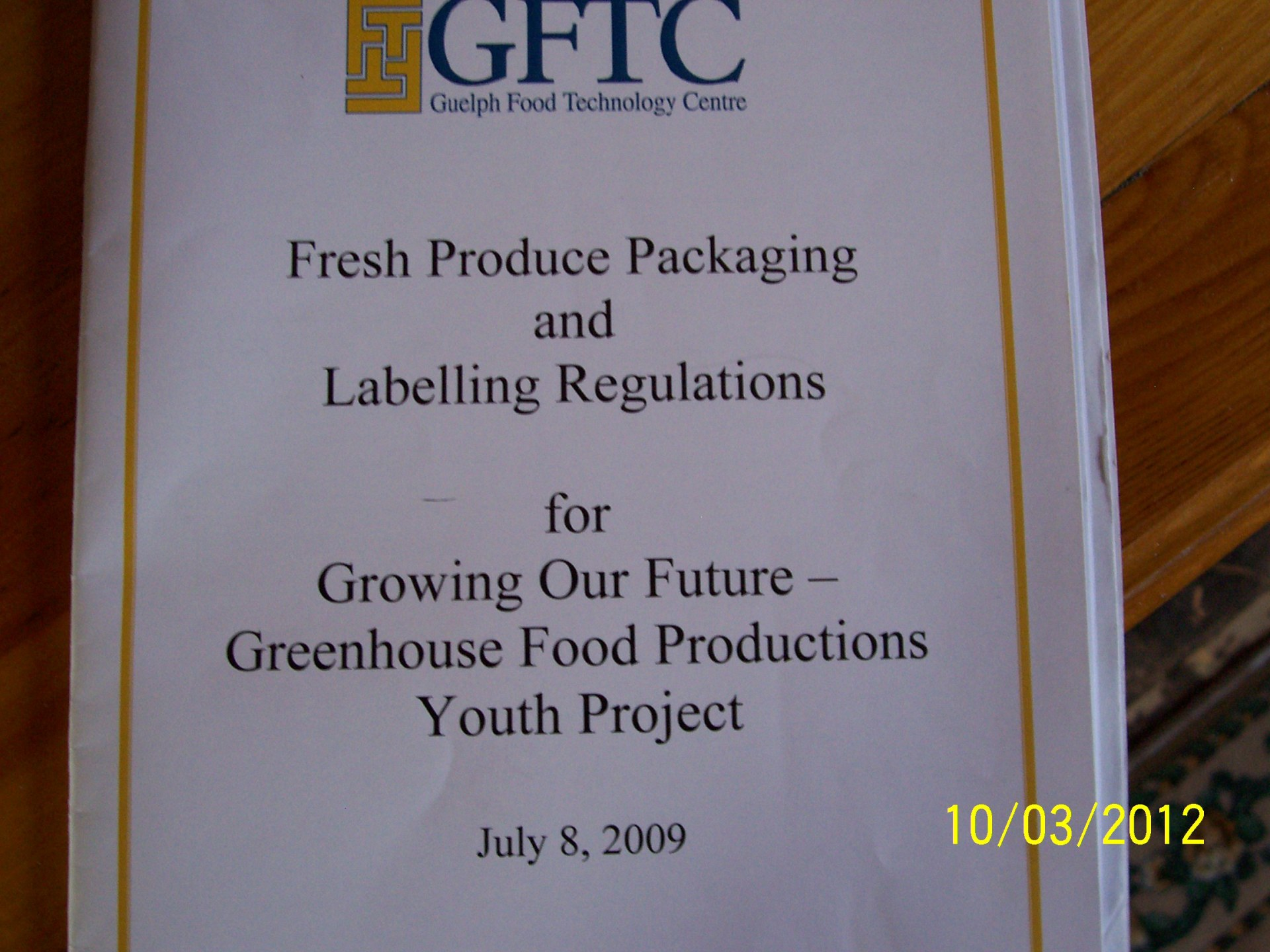 Thank You Guelph Food Technology Centre - GFTC
