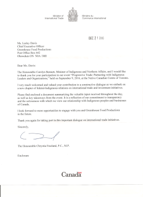 GFP Promotion - Lesley Davis Trade and Export - Wksp Acknowledgement Letter