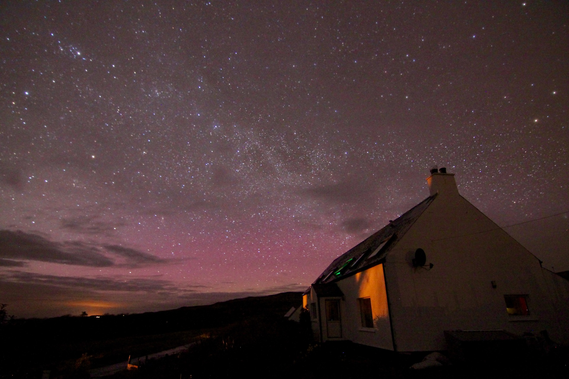 Milky Way and Aurora over Brae Fasach