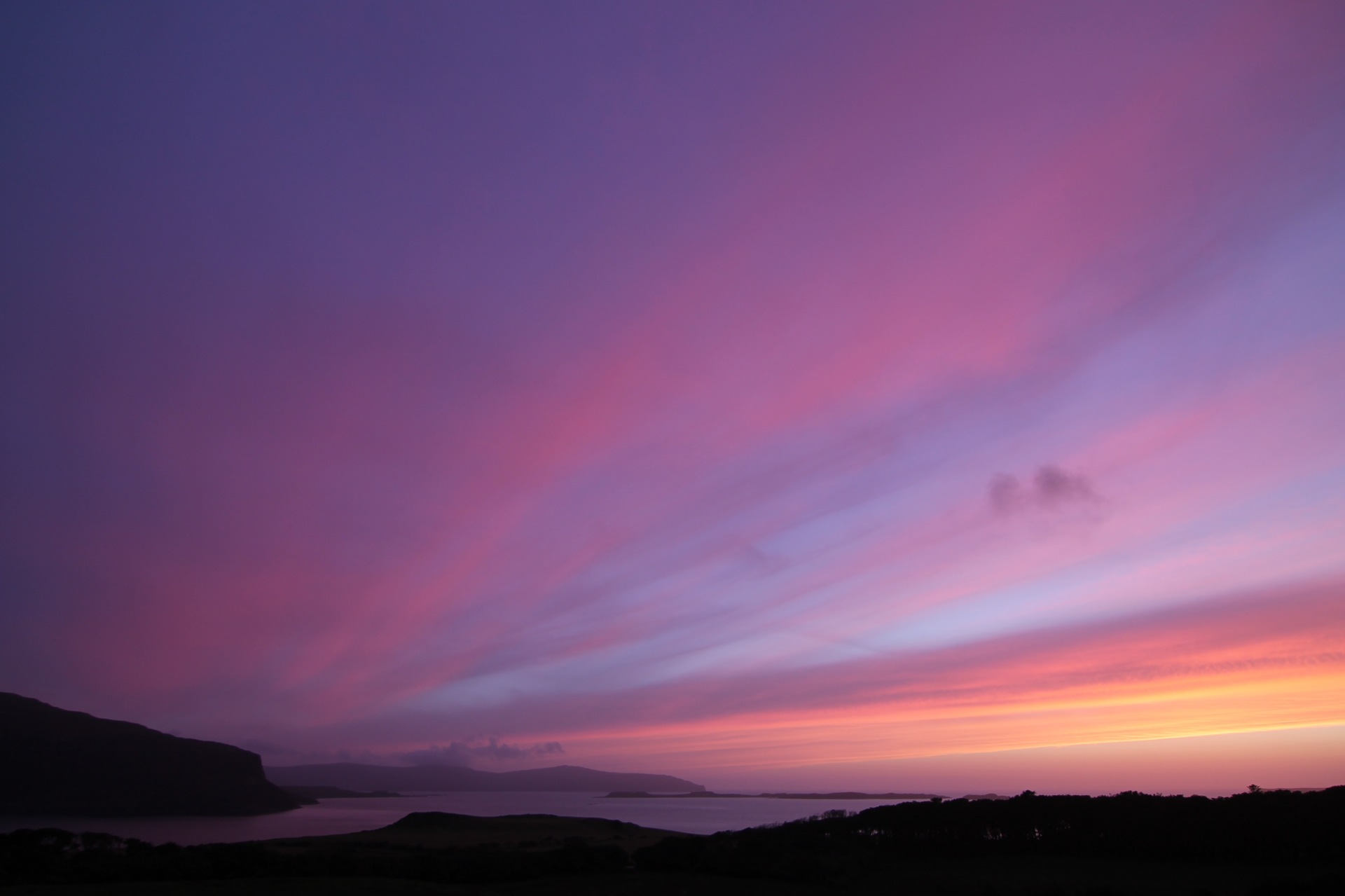Pinks and purples over Loch Bay