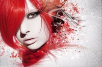 Model with bright red hair and long eyelash extensions