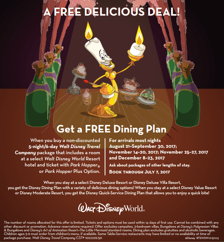 Free Dining Offer at Walt Disney World