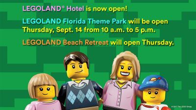 LEGOLAND Florida Theme Park will resume its regular operating schedule starting Thursday, Sept. 14