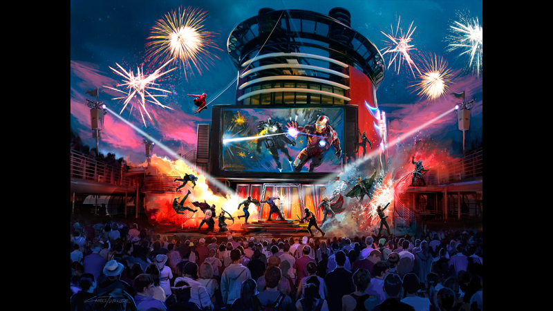 Super Heroes and Villains Battle in Action-Packed Stunt Spectacular During Marvel Day at Sea