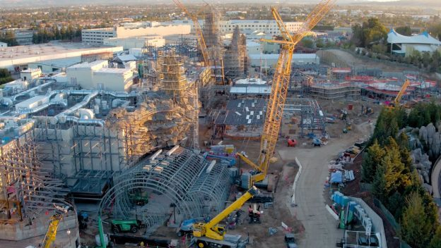 Flyover the Star Wars: Galaxy's Edge Construction Site