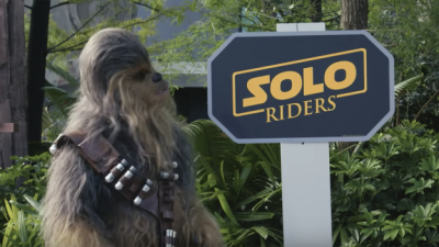 Chewbacca Flies by Disney's Hollywood Studios in Search of a Solo rider Co-Pilot at Star Tours – The