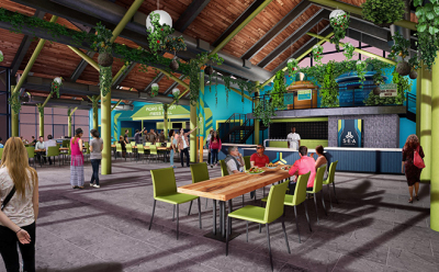 SeaWorld Orlando Releases Rendering of Waterway Grill the Base Camp for Infinity Falls