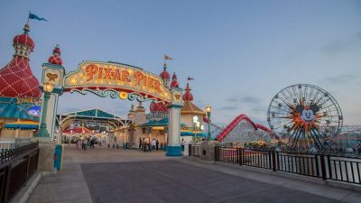 Tour of Pixar Pier at Disney California Adventure Park: Entrance