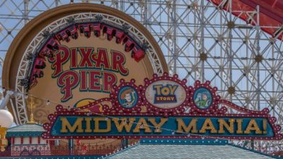 Tour of Pixar Pier at Disney California Adventure Park: Toy Story Boardwalk