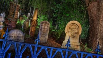 Behind the Haunted Mansion's Tombstones