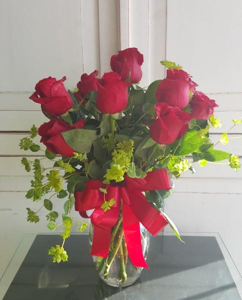 1 DZ Red Ecuadorian Roses with Blupeurum .GP--178.  $75.00