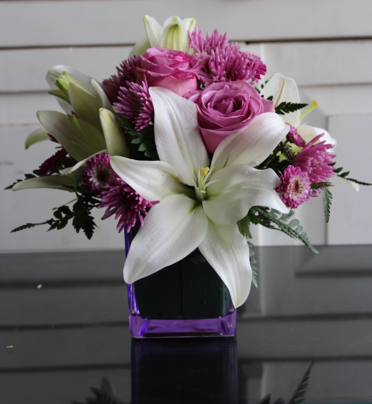 Lavender Roses with Lilies. GP-356. $59.99