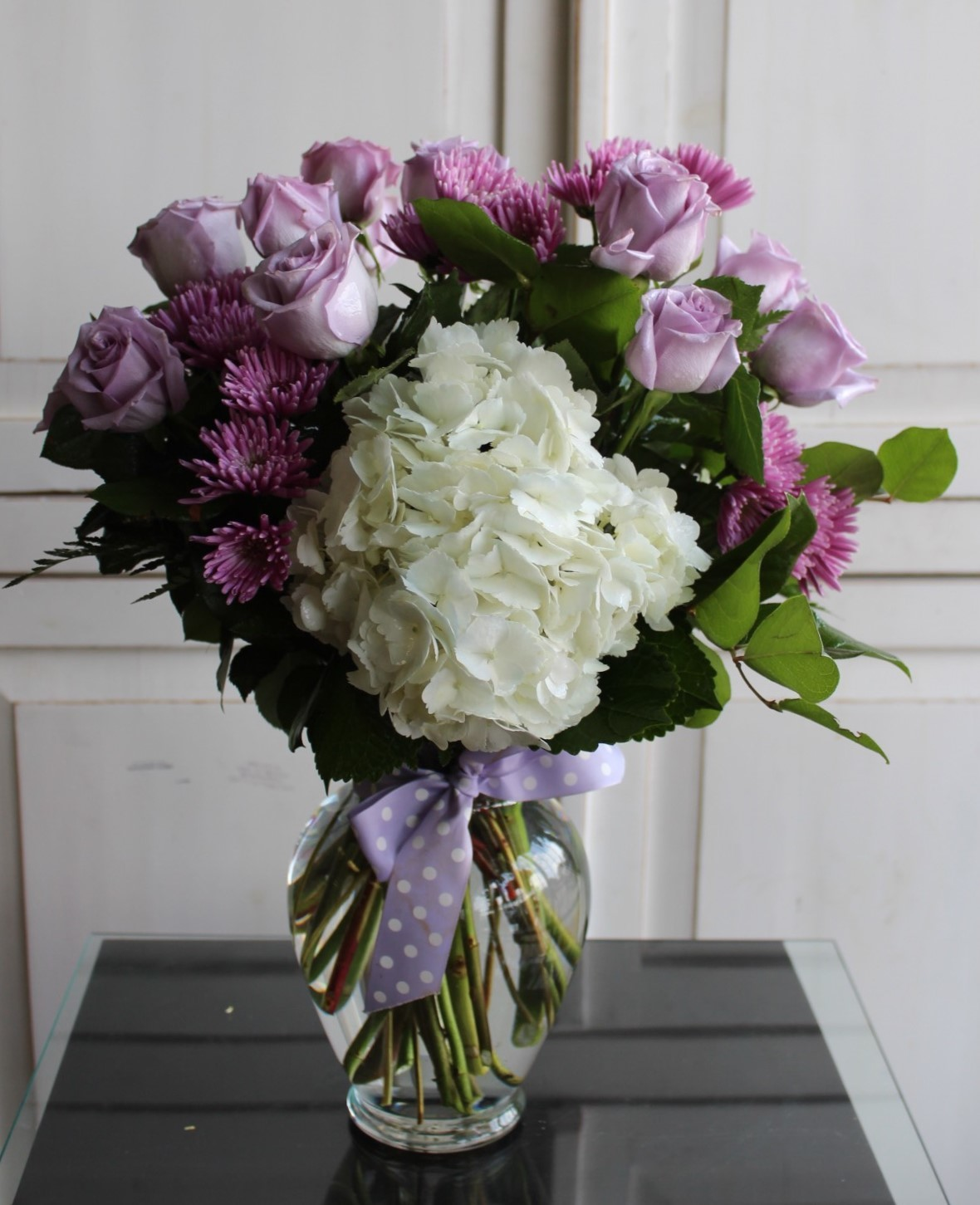 Lavender Roses and Hydrangea. GP-355. $75.00