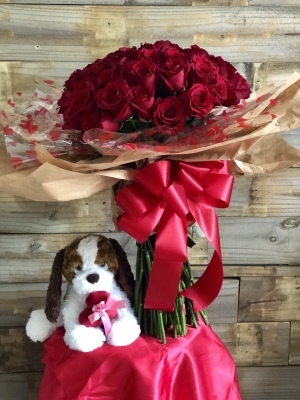 50 Roses with puppy!! $275.00