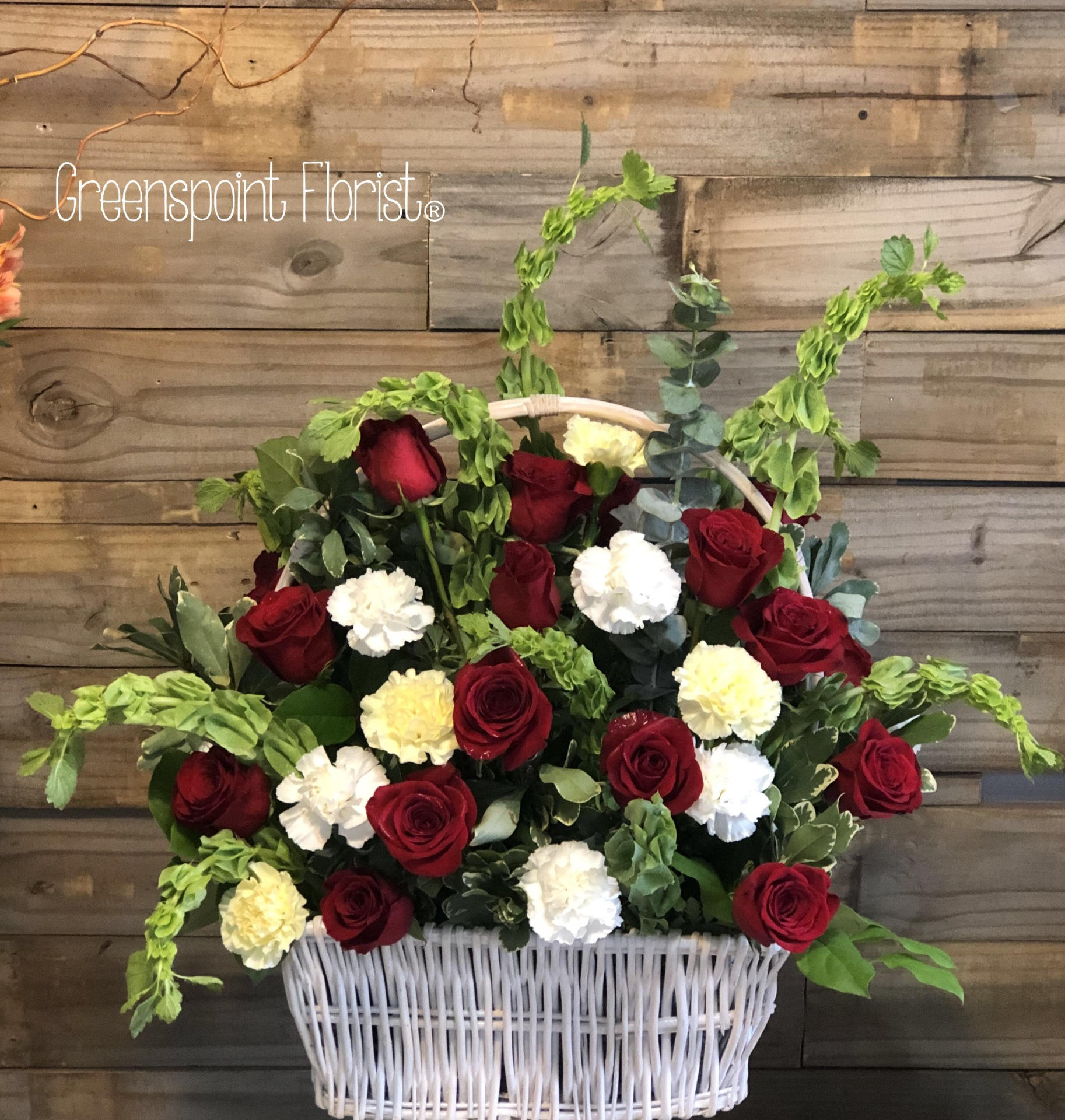GP-189.Basket with 24 Roses and carnations. $159.99