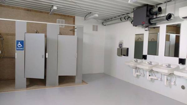 Roomy shower stalls-larger than ADA requirements