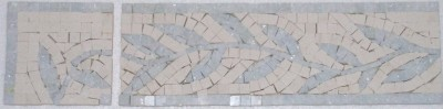 "Border: #32 Leaf Design 4n"" x 12"" Crema Lyon Honed and Blue Celeste"