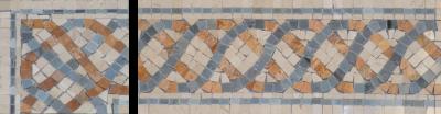 "Border & Corner: #24 Serpentine 4-5/8"" x 12"" Cream Marfil, Blue Saveh, & Gold Travertine"