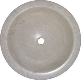 "Ming Green Marble Sink: Round Drop-in (with flat lip) 16-1/4"" x 5- 1/2"" Polished"