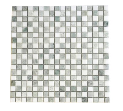 "Checkerboard 5/8"" x 5/8"" Ming Green & White Thassos Mosaic Polished (Inquire)"