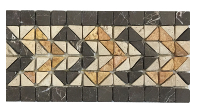 Border #12N  (5-3/4'' x 11-1/2'') Aztec, Nero Marquina & Peach Tumbled