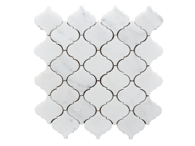 "White Statuary Calacatta Marble 3""x3"" Arabesque Mosaics Polished"