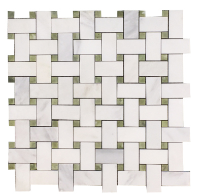 "Basketweave: 1"" x 2"" White Statuary Calacatta with 3/8"" Green Olivine Dot Mosaic Polished"