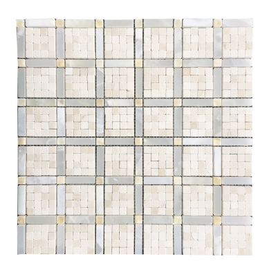 "Vetro 3/8'' x 3/8'' Cream Marfil Mosaics, White Persian Cloud Onyx  1-1/2"" x 3/8"" Bars with 3/8''  PolishedHoney Onyx Dots Mosaics"