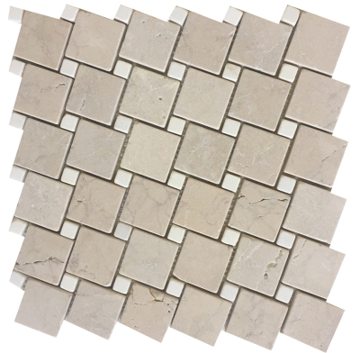 "Cream Marfil Marble 2"" x 2"" Off-Set with 5/8'' White Thassos Dots Tumbled"