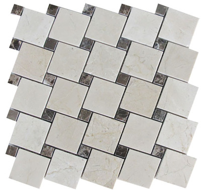 "Cream Marfil Marble 2"" x 2"" Off-Set with 5/8'' Brown Emperador Dots Polished"