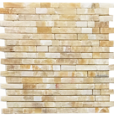 Golden Honey Onyx 5/8'' x Mixed Lengths Broken-Joint Stripes Polished