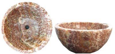 """Red Sea Onyx Sink:  Round Vessel (no lip), 16"""" round x 6"""" deep"""