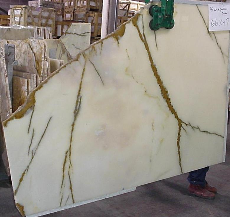 "White Persian Snow Gold (White Aqua Green) 3/4"" Polished Onyx Slabs #010202"