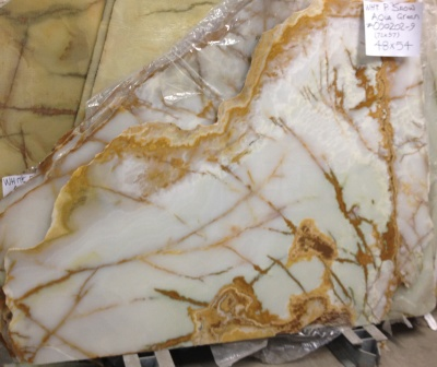 "White Persian Snow (White Aqua Green) 3/4"" Polished Onyx Slabs, Lot# 090202-9"