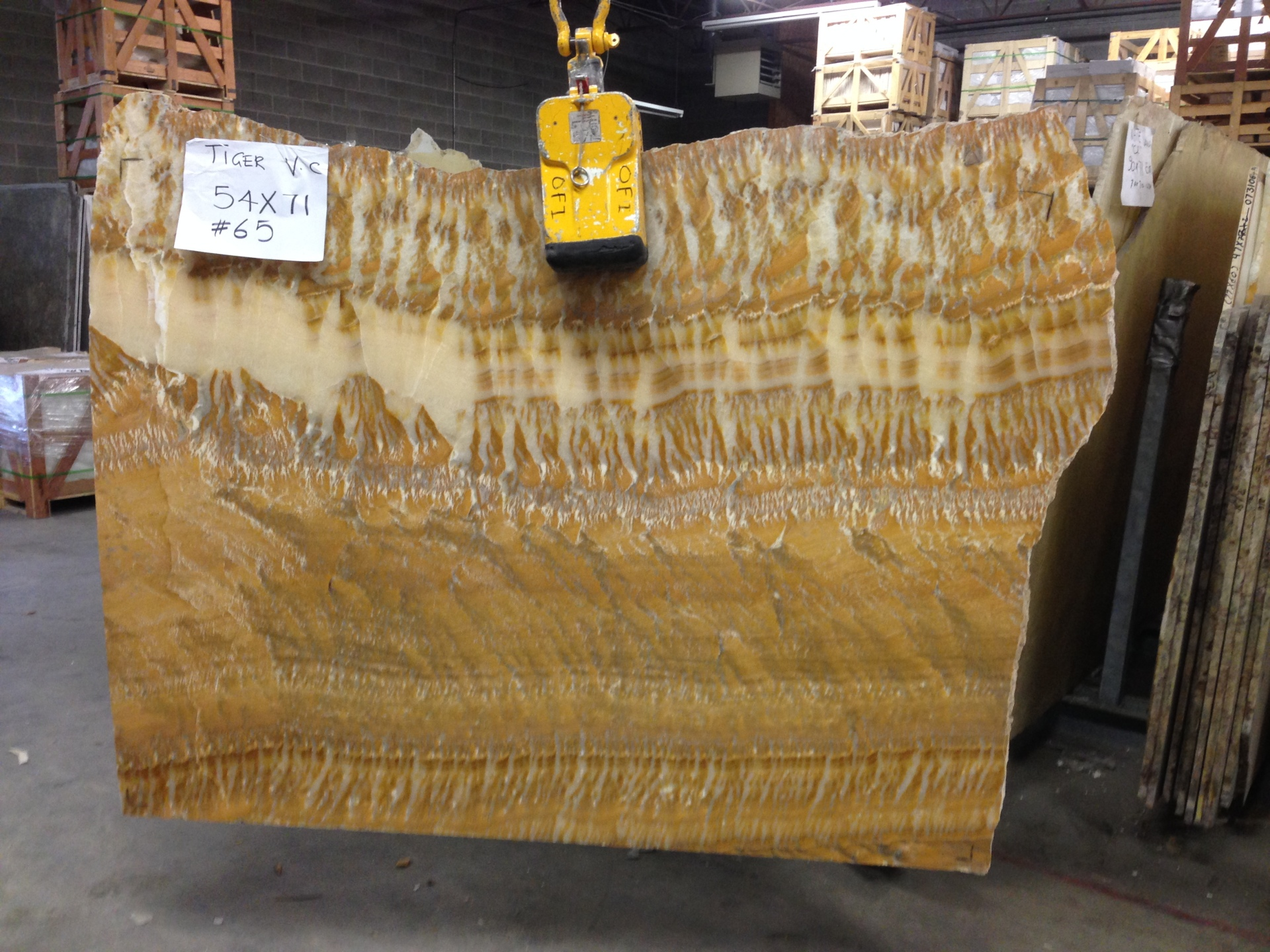 "Tiger 3/4"" Vein-Cut Polished Onyx Slabs (Inquire Upon Availability)"