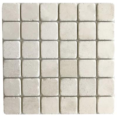 """Crema Lyon Limestone 2"""" x 2"""" Mosaic Tumbled"""