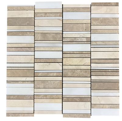 Stacked Mosaic: Cream Marfil, Light Brown Emperador and White Snow Marble