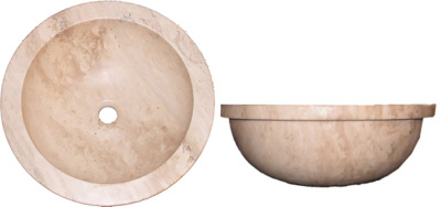 "Durango Travertine 17"" Honed Round Drop-in (with Lip)"