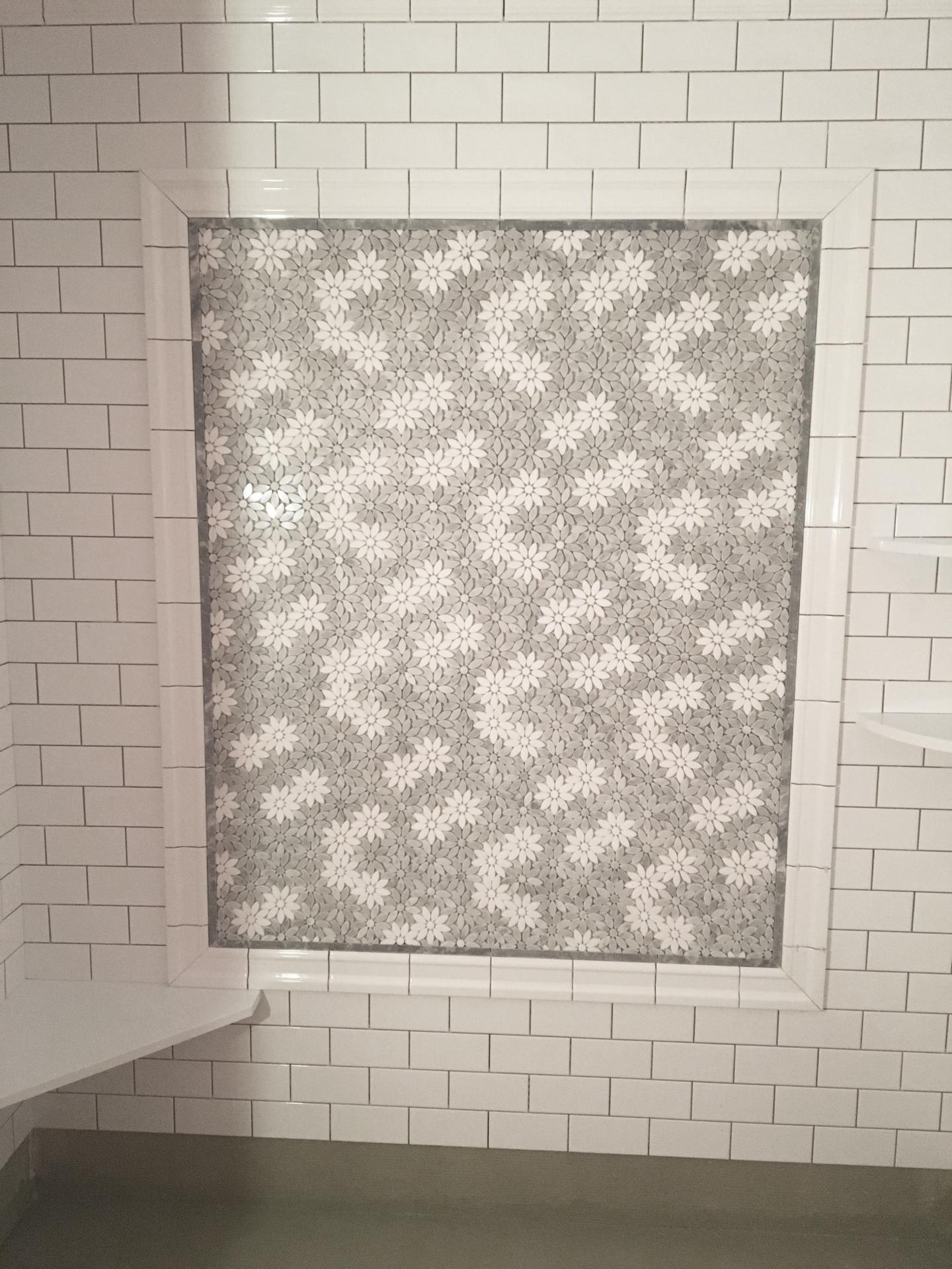 "Bloom- 3"" White Carrara Venatino & White Thassos Random Mosaic Polished"