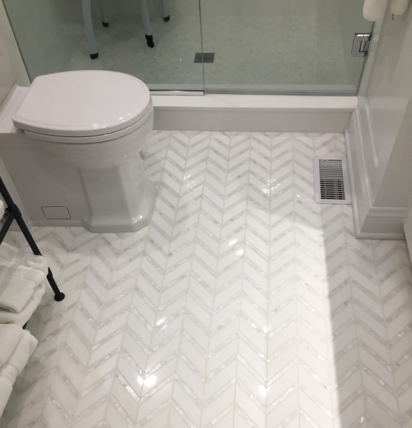 "<p style=""font-size: 14px;"">Chevron 2. White Thassos Marble 1-5/8 x 5"" with Mother of Pearl 1/2 x 5"" Lines Polished Mosaic"