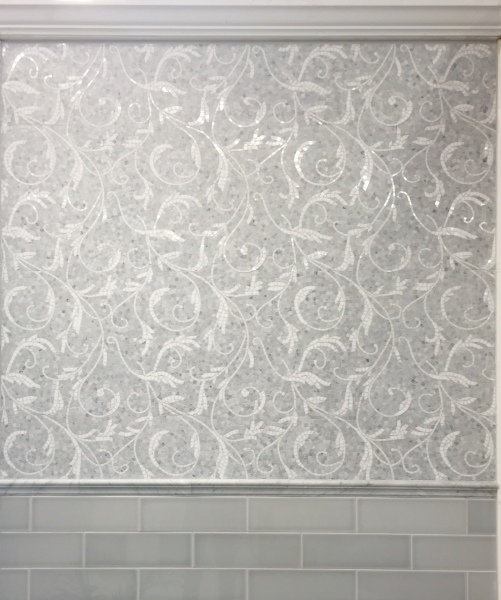 Floral 1. White Carrara Honed with White Thassos Polished