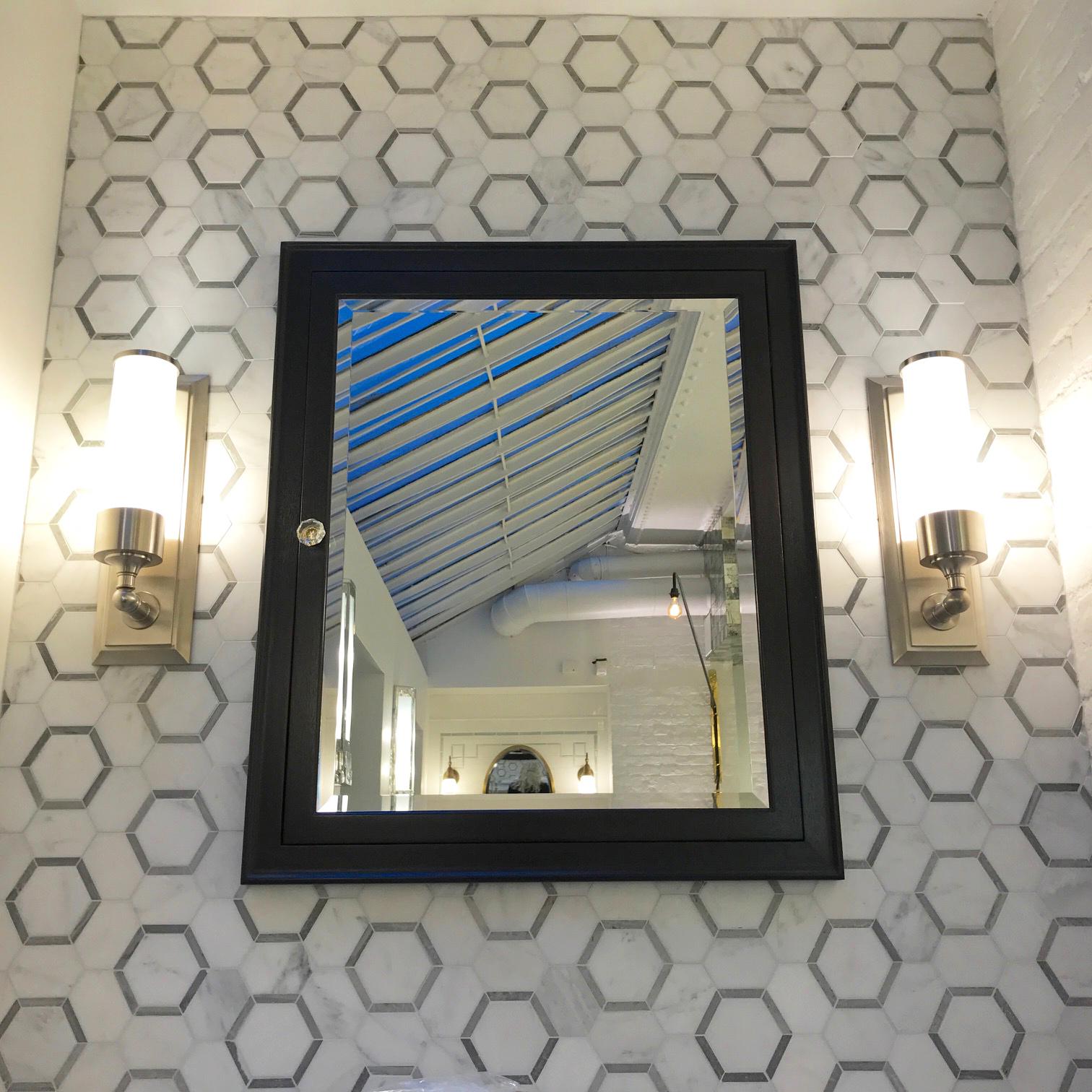Honeycomb Hexagon 1. White Statuary Calacatta with Blue Stratta