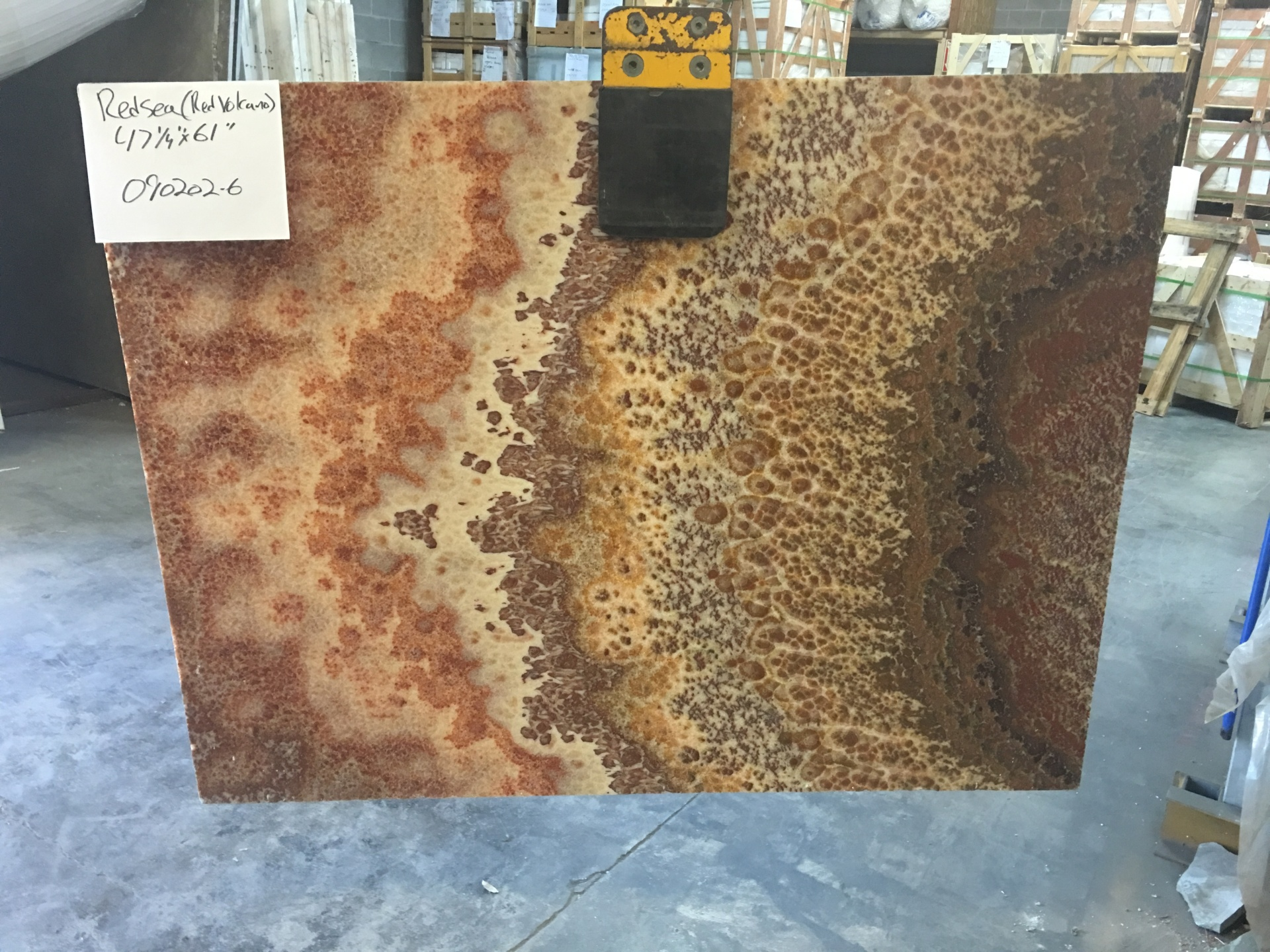 "Red Sea 3/4"" Polished Onyx Slabs Polished, Lot 090202-6"