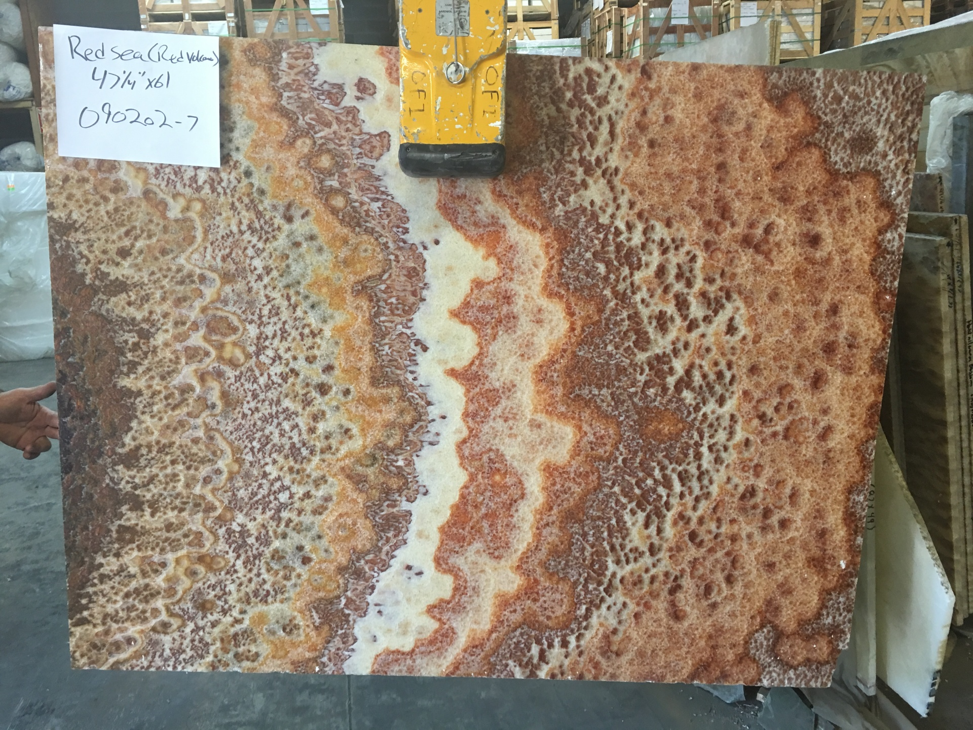 "Red Sea 3/4"" Polished Onyx Slabs Polished, Lot 090202-7"