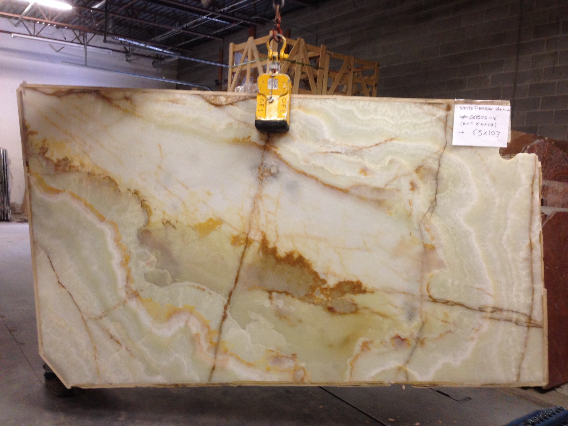"White Persian Vanilla 3/4"" Polished Onyx Lot# 061505 (More Slabs Available, Inquire)"