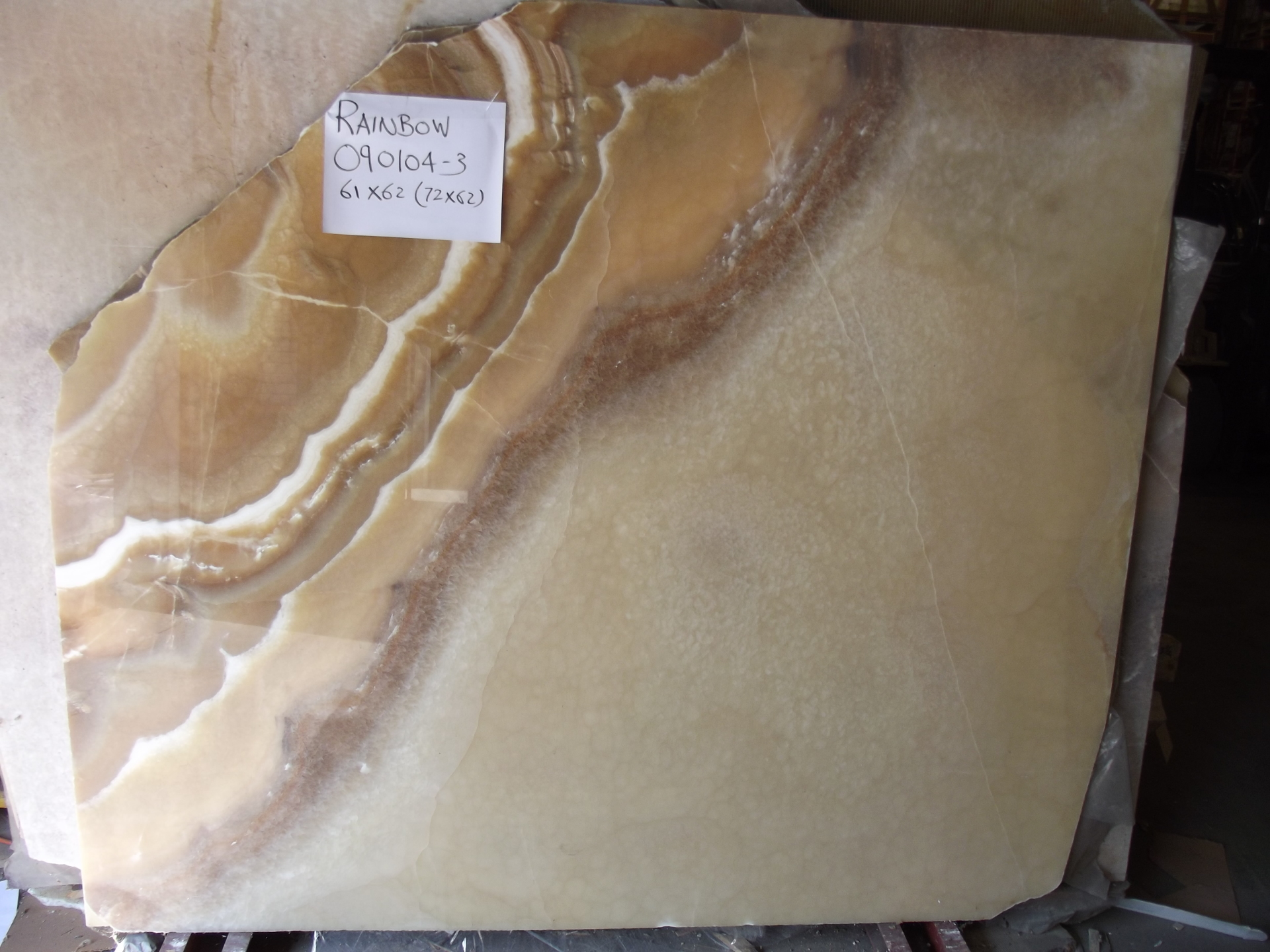 "Rainbow 3/4"" Polished Onyx Slabs, Lot# 090104 (Other Slabs Available, Inquire)"