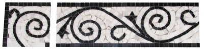 "Border #26WB Vine Design: 4n"" x 12'' White Statuary Calacatta & Black Marble Polished"